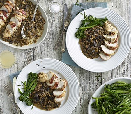 Rosemary Chicken With A Portobello Mushroom Pearl Barley Risotto Cook
