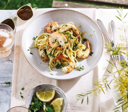 Garlic Butter Prawns with Pasta