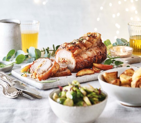 Pork Loin with a Cider & Chorizo Stuffing