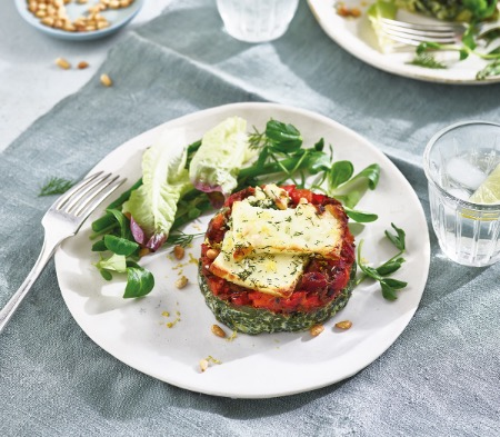 Halloumi, Red Pepper & Spinach Stacks